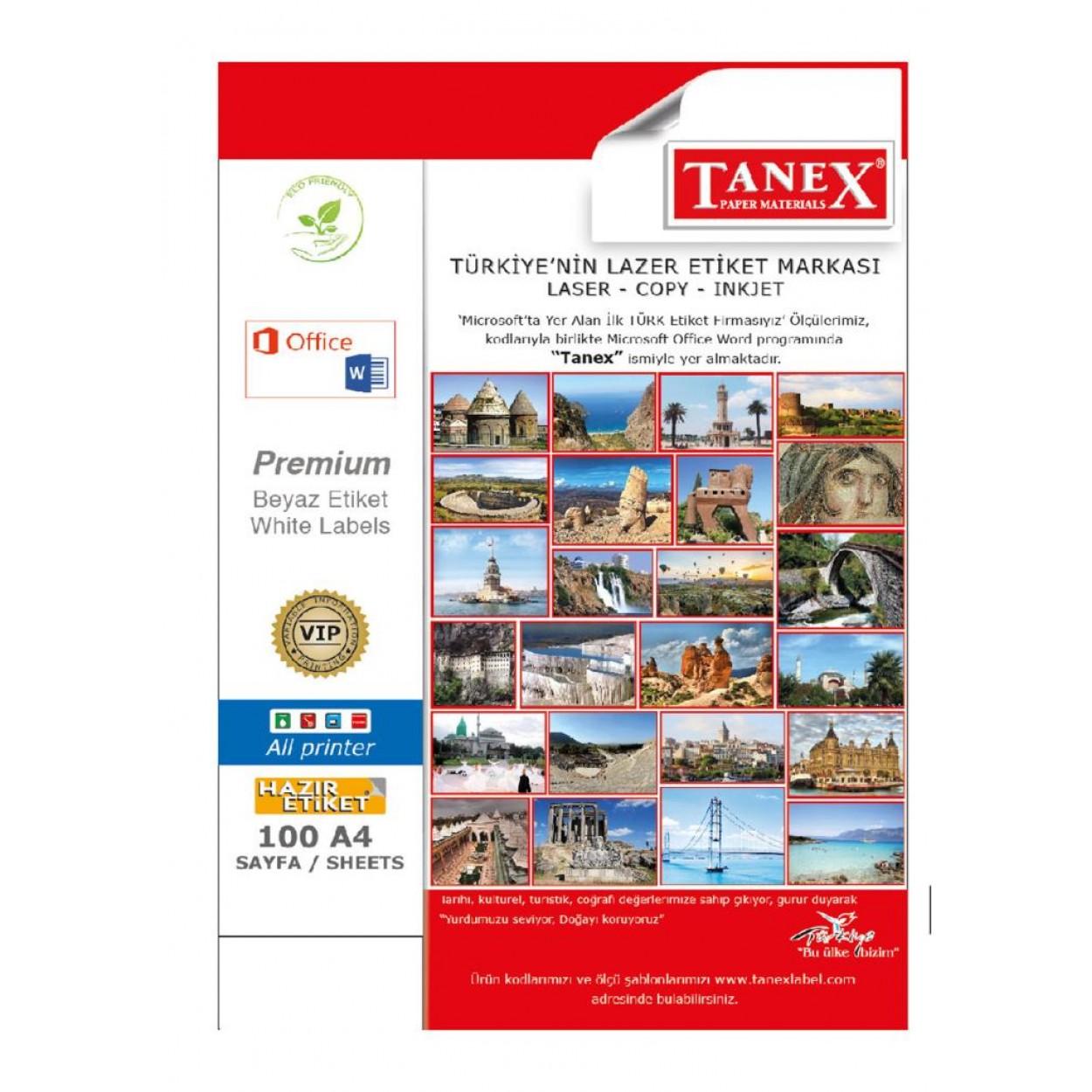 Tanex TW-2002 199.6x143.5mm Gümüş Lazer Etiket 50 Li