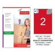 Tanex TW-2002 199,6x143,5mm Kırmızı Pastel Laser Etiket 100 Lü