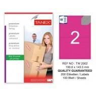 Tanex TW-2002 199,6x143,5mm Pembe Pastel Laser Etiket 100 Lü