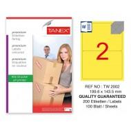 Tanex TW-2002 199,6x143,5mm Sarı Pastel Laser Etiket 100 Lü
