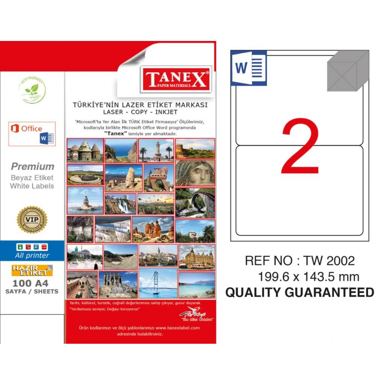 Tanex TW-2002 199.6x143.5mm Şeffaf Laser Etiket 50 Li