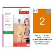 Tanex TW-2002 199,6x143,5mm Turuncu Pastel Laser Etiket 100 Lü