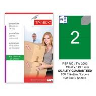 Tanex TW-2002 199,6x143,5mm Yeşil Pastel Laser Etiket 100 Lü