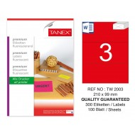 Tanex TW-2003 210x99 mm Kırmızı Floresan Laser Etiket 100 Lü