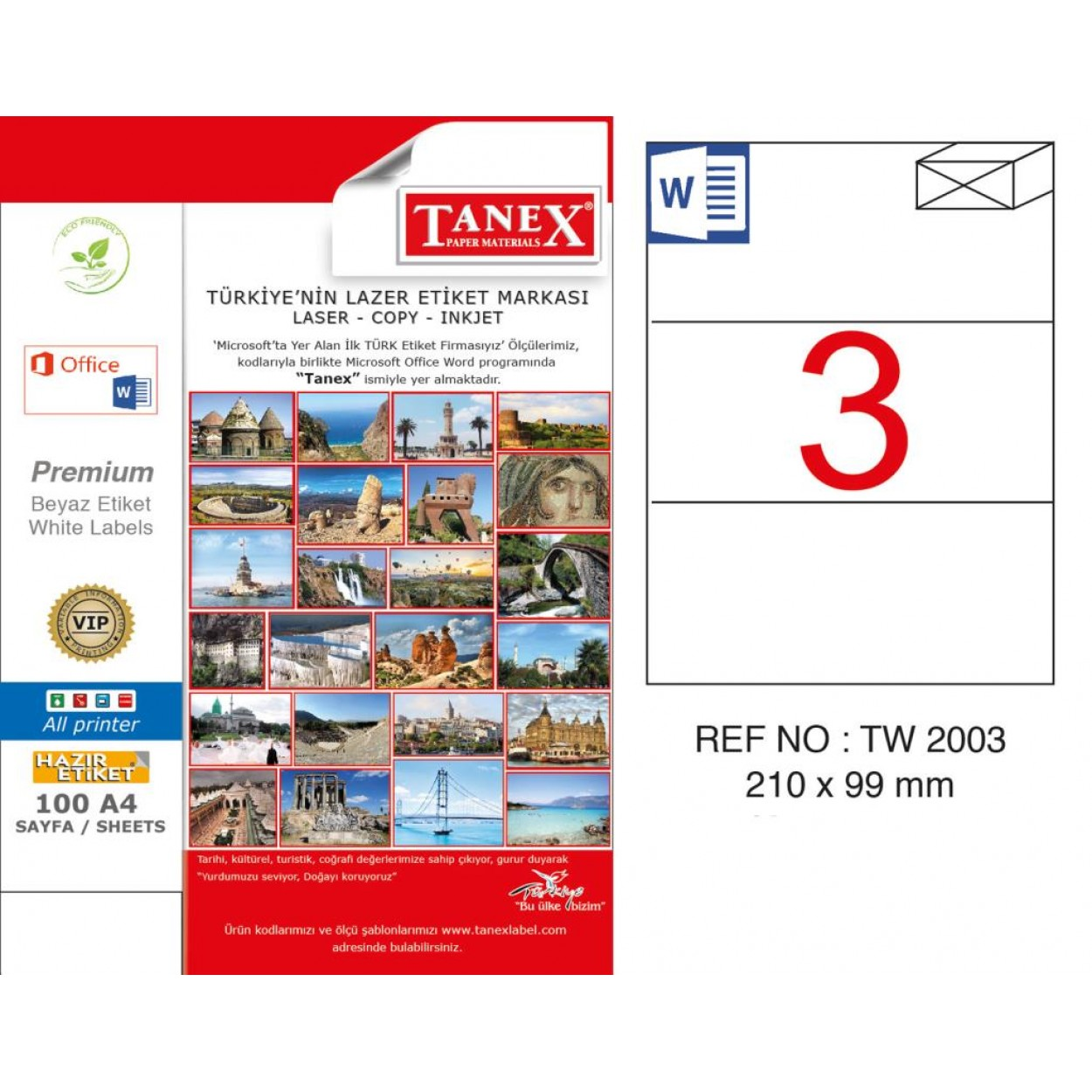 Tanex TW-2003 210x99 mm Kuşe Laser Etiket