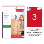 Tanex TW-2003 210x99mm Kırmızı Pastel Laser Etiket 100 Lü