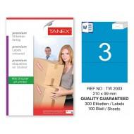 Tanex TW-2003 210x99mm Mavi Pastel Laser Etiket 100 Lü
