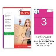 Tanex TW-2003 210x99mm Pembe Pastel Laser Etiket 100 Lü