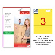Tanex TW-2003 210x99mm Sarı Pastel Laser Etiket 100 Lü