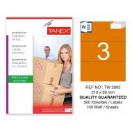 Tanex TW-2003 210x99mm Turuncu Pastel Laser Etiket 100 Lü