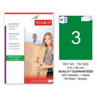 Tanex TW-2003 210x99mm Yeşil Pastel Laser Etiket 100 Lü