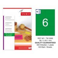 Tanex TW-2006 99,1x93,1 mm Yeşil Floresan Laser Etiket 100 Lü