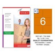 Tanex TW-2006 99,1x93,1mm Turuncu Pastel Laser Etiket 100 Lü