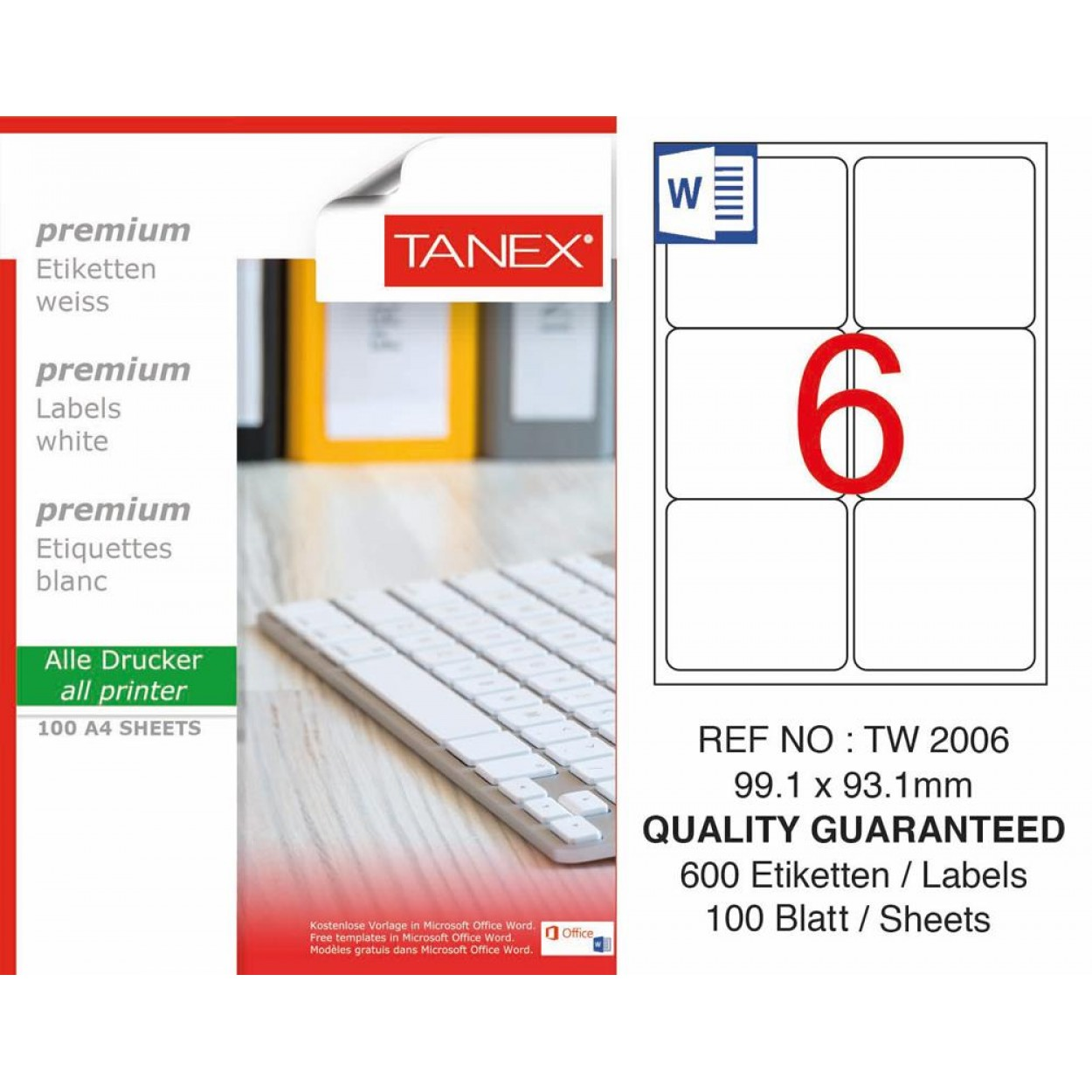 Tanex TW-2006 Laser Etiket  99,1 x 93,1mm
