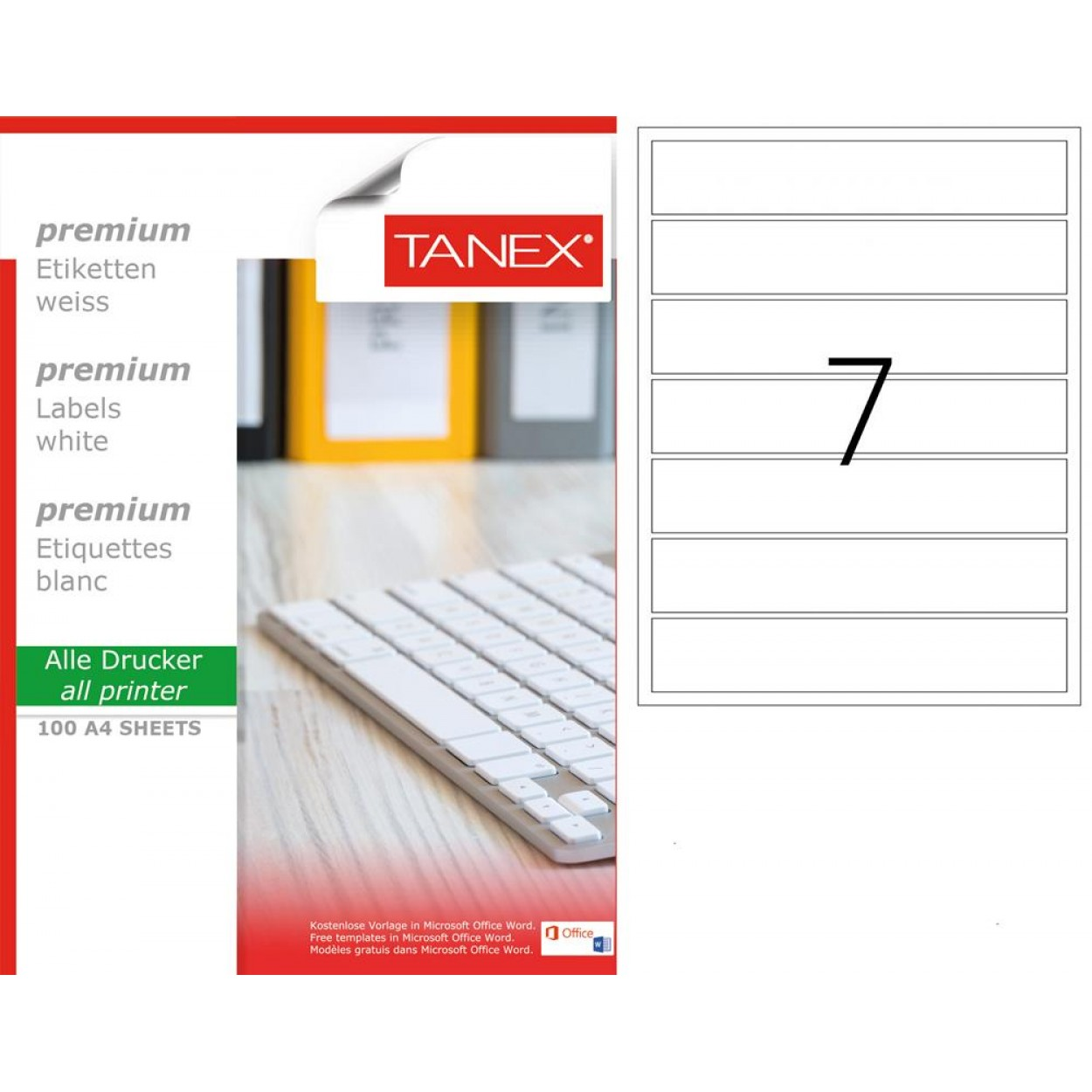 Tanex TW- 2007  Laser Etiket 100 Lü Paket