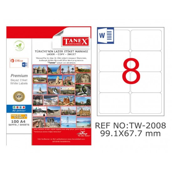 Tanex TW-2008 99.1x167.7mm Polyester Etiket 25 Li