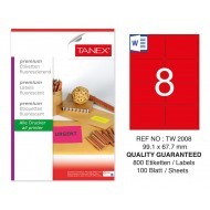 Tanex TW-2008 99,1x67,7 mm Kırmızı Floresan Laser Etiket 100 Lü