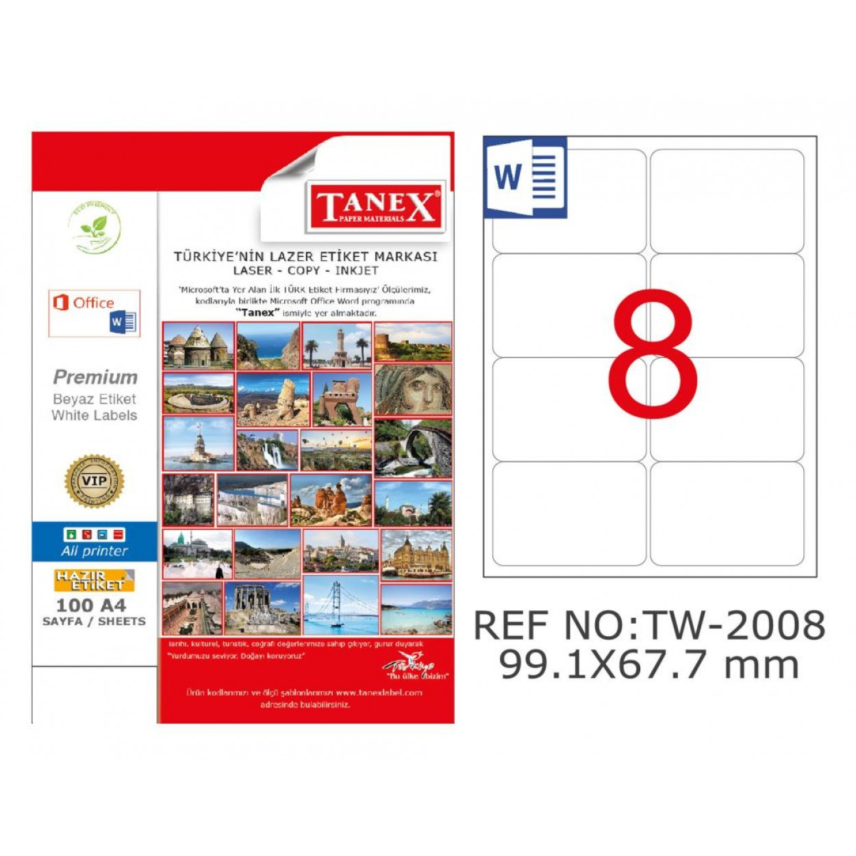 Tanex TW-2008 99,1x67,7 mm Kuşe Laser Etiket