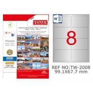 Tanex TW-2008 99.1x67.7mm Gümüş Lazer Etiket 200 Lü