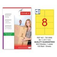 Tanex TW-2008 99,1x67,7mm Sarı Pastel Laser Etiket 100 Lü