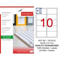 Tanex TW-2010 99,06x57 mm Laser Etiket 100 Lü