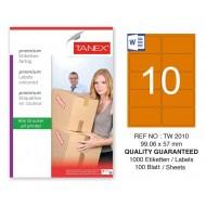 Tanex TW-2010 99,06x57mm Turuncu Pastel Laser Etiket 100 Lü