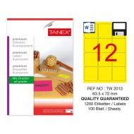 Tanex TW-2012 63.5x72 mm Floresan Sarı Laser Etiket 100 Lü Paket