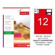 Tanex TW-2012 63,5x72 mm Kırmızı Floresan Laser Etiket 100 Lü