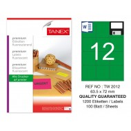 Tanex TW-2012 63,5x72 mm Yeşil Floresan Laser Etiket 100 Lü