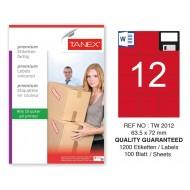 Tanex TW-2012 63,5x72mm Kırmızı Pastel Laser Etiket 100 Lü