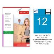 Tanex TW-2012 63,5x72mm Mavi Pastel Laser Etiket 100 Lü