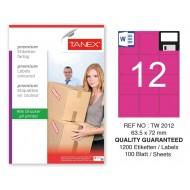 Tanex TW-2012 63,5x72mm Pembe Pastel Laser Etiket 100 Lü