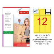 Tanex TW-2012 63,5x72mm Sarı Pastel Laser Etiket 100 Lü