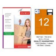 Tanex TW-2012 63,5x72mm Turuncu Pastel Laser Etiket 100 Lü