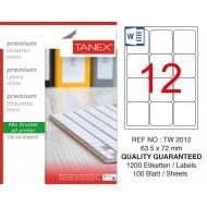 Tanex TW-2012 Laser Etiket 100 Lü Paket