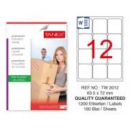 Tanex Tw-2012 Sevkiyat ve Lojistik Etiketi 63,5x72 mm
