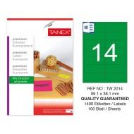 Tanex TW-2014 99,1x38,1 mm Yeşil Floresan Laser Etiket 100 Lü