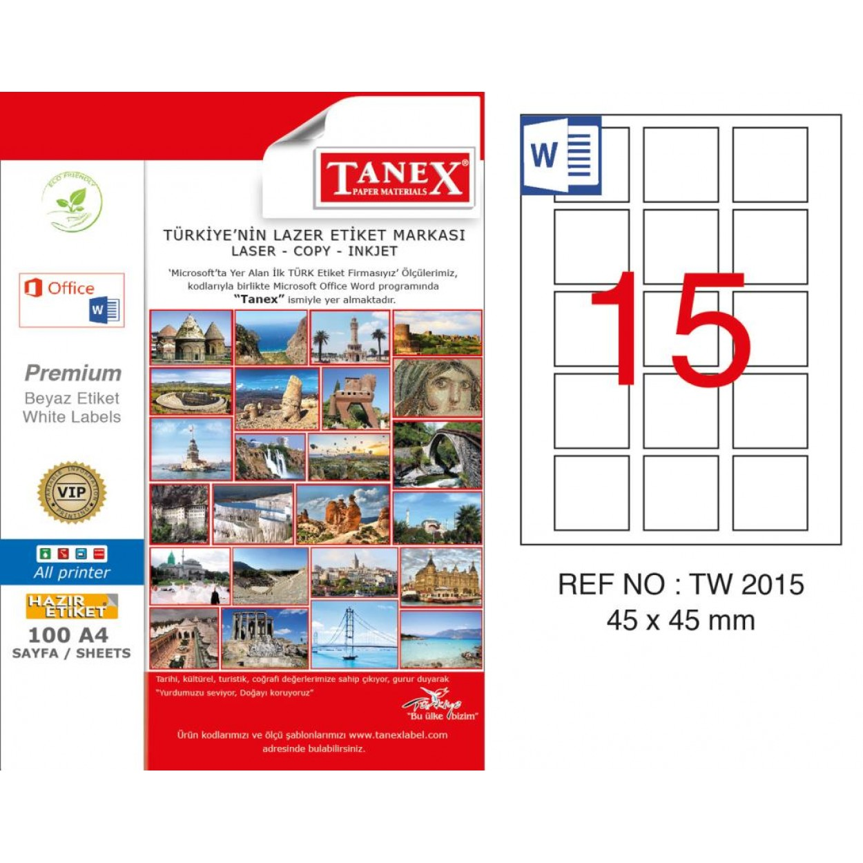 Tanex TW-2015 45x45mm Kuşe Laser Etiket 100 Lü Paket