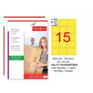 Tanex TW-2015 45x45mm Sarı Pastel Laser Etiket 100 Lü