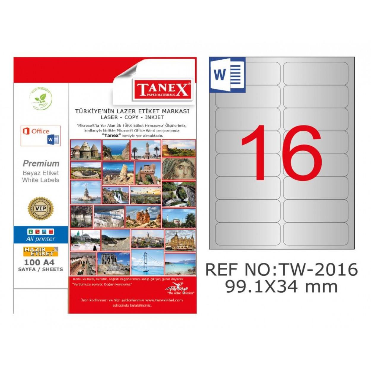 Tanex TW-2016 99.1x34mm Gümüş Lazer Etiket 400 Lü