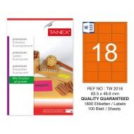 Tanex TW-2018 63,5x46,6 mm Turuncu Floresan Laser Etiket 100 Lü