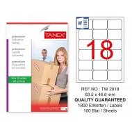 Tanex Tw-2018 Sevkiyat ve Lojistik Etiketi 63,5x46,6 mm