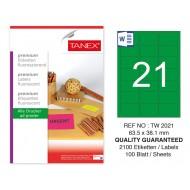 Tanex TW-2021 63,5x38,1 mm Yeşil Floresan Laser Etiket 100 Lü