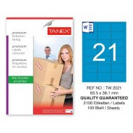 Tanex TW-2021 63,5x38,1mm Mavi Pastel Laser Etiket 100 Lü