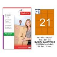 Tanex TW-2021 63,5x38,1mm Turuncu Pastel Laser Etiket 100 Lü