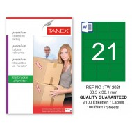 Tanex TW-2021 63,5x38,1mm Yeşil Pastel Laser Etiket 100 Lü