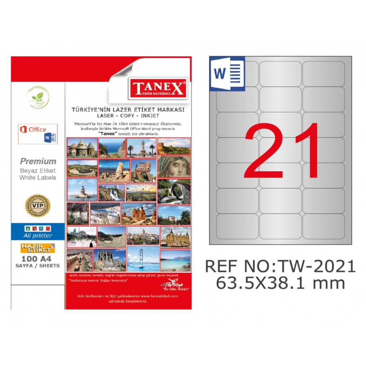 Tanex TW-2021 65.5x38.1 mm Gümüş Lazer Etiket 525 Li