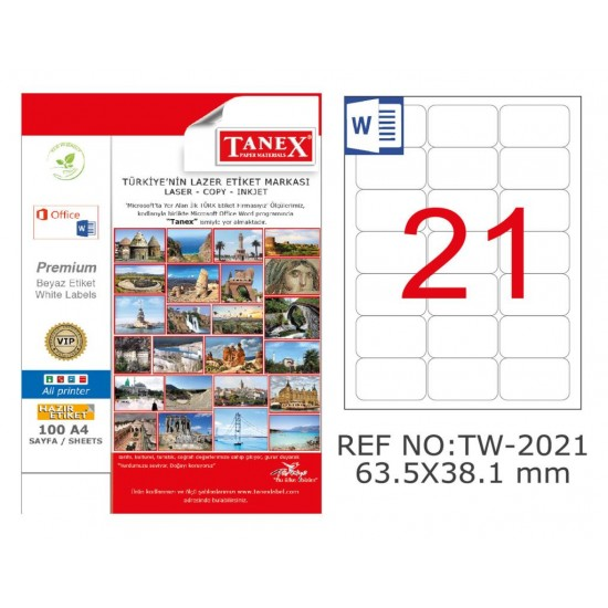 Tanex TW-2021 Kuşe Laser Etiket 63.5 mm x 38.1 mm