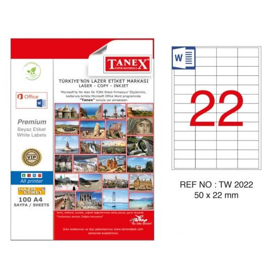 Tanex TW-2022 50x22mm Kuşe Laser Etiket 100 Lü Paket