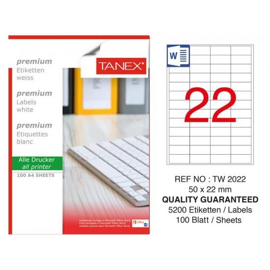 Tanex  TW-2022 Laser Etiket 50 x 22 mm